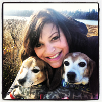 Dr. Meghan Levangie with two dogs